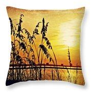 Sea Oat Sunrise Throw Pillow