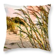 Sea Oats And Dunes Throw Pillow by Kristin Elmquist