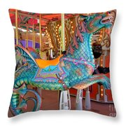Sea Serpent Carousel Ride Throw Pillow