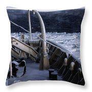 Sea Smoke, Sea Ice, And Icicles Throw Pillow