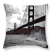 Sea Spray Under The Golden Gate Bridge Throw Pillow