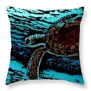 Sea Turtle Swimming Throw Pillow