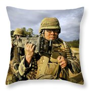Seabees Carrying A 50-caliber Machine Throw Pillow