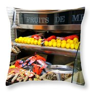 Seafood Market In Nice Throw Pillow