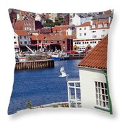 Seagull At Whitby Harbor Throw Pillow by Axiom Photographic