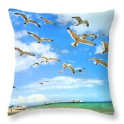 Seagulls At Worthing Sussex Throw Pillow