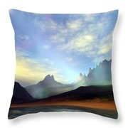 Seagulls Fly Near A Beautiful Island Throw Pillow by Corey Ford