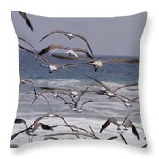 Seagulls Fly Over Surf Throw Pillow