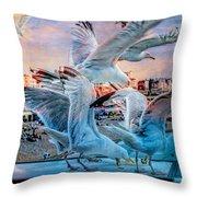 Seagulls On Brighton Pier Throw Pillow