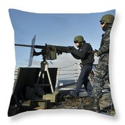Seaman Fires A .50 Caliber Machine Gun Throw Pillow