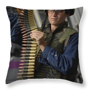 Seaman Prepares To Load Ammunition Throw Pillow