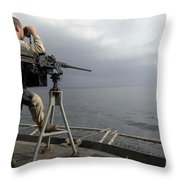 Seaman Scans The Ocean Throw Pillow