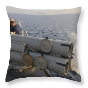 Seamen Fire An Air Slug From A Mk-32 Throw Pillow