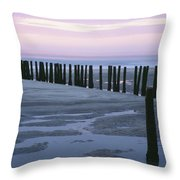 Seascape At Dusk With Pillars In Throw Pillow