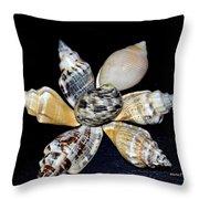 Seashell Floral Throw Pillow