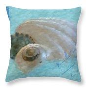Seashells In Aqua Throw Pillow