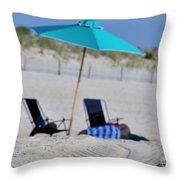 seashore 82 Beach Chairs Beach Umbrella and Tire Treads in Sand Throw Pillow