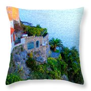 Seaside Villa Amalfi Throw Pillow