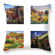 seasonal farm country folk art-set of 4 farms prints amricana American Americana print series Throw Pillow