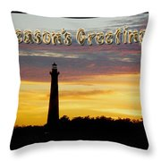 Season's Greetings Card - Cape Hatteras Lighthouse Sunset Throw Pillow