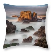 Seastacks In The Mists Throw Pillow