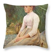 Seated Lady Throw Pillow