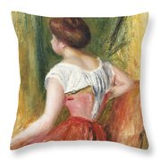 Seated Young Woman Throw Pillow