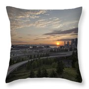 Seattle Arrival Sunset Throw Pillow