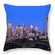 Seattle Skyline 3 Throw Pillow