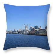 Seattle Waterway Cityscape Throw Pillow