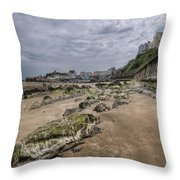 Seaweed Rocks Tenby Throw Pillow