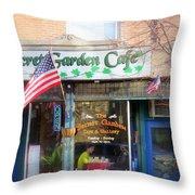Secret Garden Cafe Throw Pillow