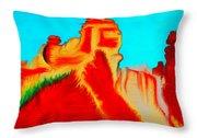 Sedona Hills - Fire At Sunset - Arizona Throw Pillow