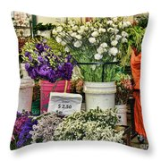 Selecting Flowers Throw Pillow
