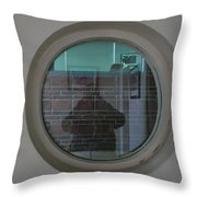 Self Portrait In A Circular Glass On The Wall Throw Pillow
