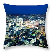 Sendai Train Station By Night Throw Pillow
