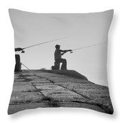 Sentinels - Fishing In The Fog Throw Pillow