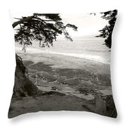 Sentinels View Of The Ocean Black And White Throw Pillow