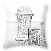 Sentry Tower Castillo San Felipe Del Morro Fortress San Juan Puerto Rico Line Art Black And White Throw Pillow by Shawn O'Brien