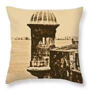 Sentry Tower Castillo San Felipe Del Morro Fortress San Juan Puerto Rico Rustic Throw Pillow by Shawn O'Brien