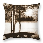 Sepia Picnic Table Throw Pillow