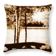 Sepia Picnic Table Lll Throw Pillow