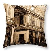 Sepia Toned Image Of Leadenhall Market London Throw Pillow