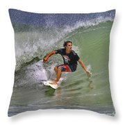September Ponce Inlet Surfer Throw Pillow