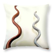 Serpants Duo Pair Of Abstract Snake Like Sculptures In Brown And Spotted White Dancing Upwards Throw Pillow