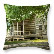 Settlers Cabin And Crosstie Fence 4 Throw Pillow
