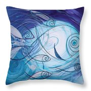 Seven Ichthus And A Heart Throw Pillow by J Vincent Scarpace
