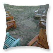 Several Lawn Chairs Scattered Throw Pillow