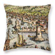 Seville: Departure, 1594. /ndeparture For The New World From Sanlucar De Barrameda, The Port Of Seville, Spain. Line Engraving, 1594, By Theodor De Bry Throw Pillow
