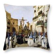 Seville: Good Friday, 1862 Throw Pillow
